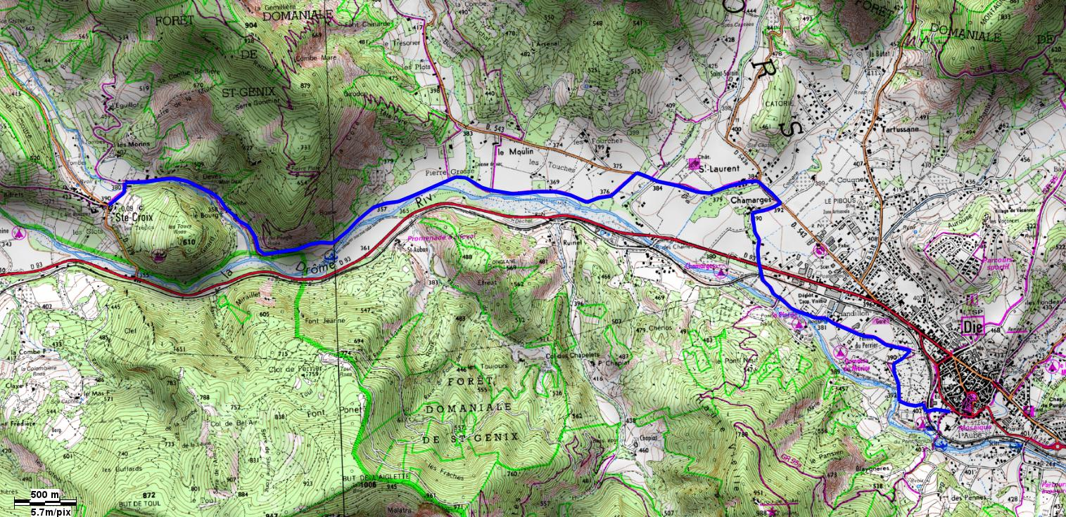 carte randonnée drome sur les pas des huguenots die